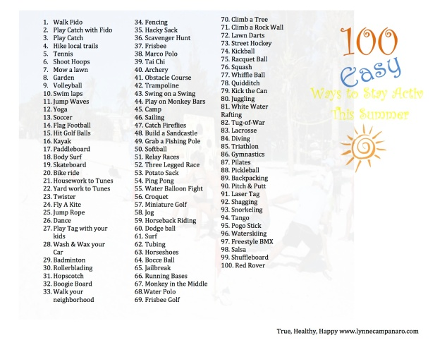 100 Easy Ways to Stay Active this Summer